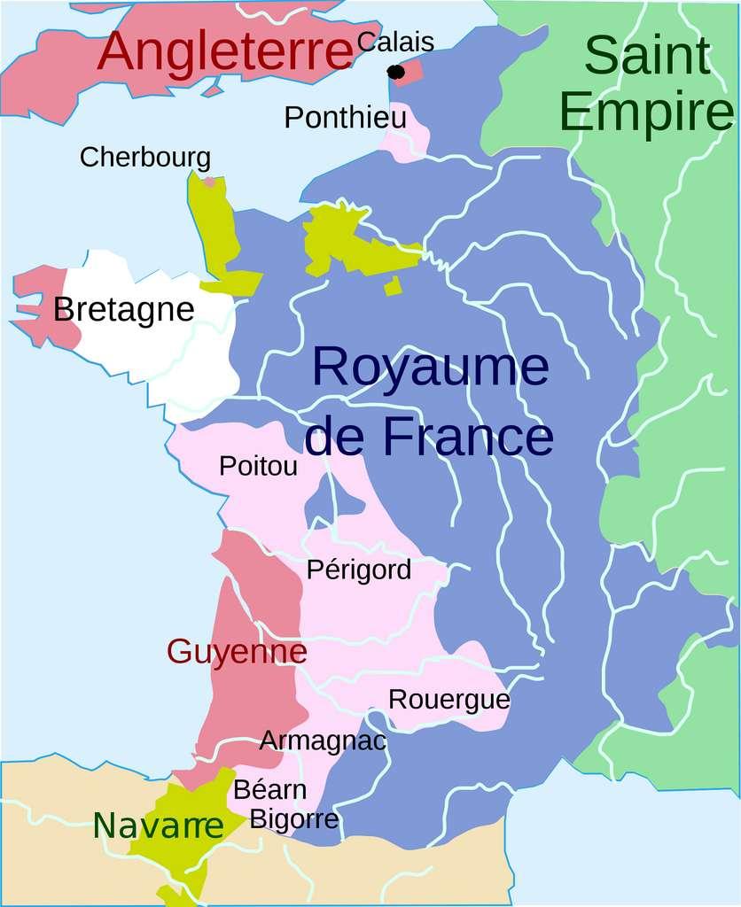 Carte du royaume de France en 1360 (après le traité de Brétigny) : en rose foncé, territoires contrôlés par le roi Edouard III ; en rose clair, territoires cédés par le roi de France à l'Angleterre. © CartesFrance.fr
