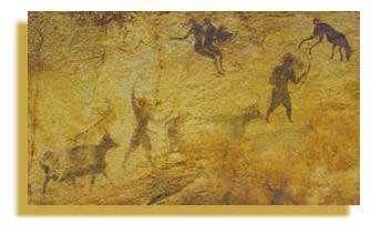 Deux bergers avec des arcs mènent leur troupeau. (Sefar).