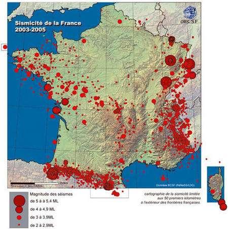 Figure 10 - Répartition de la sismicité instrumentale enregistrée ces dernières années en France métropolitaine