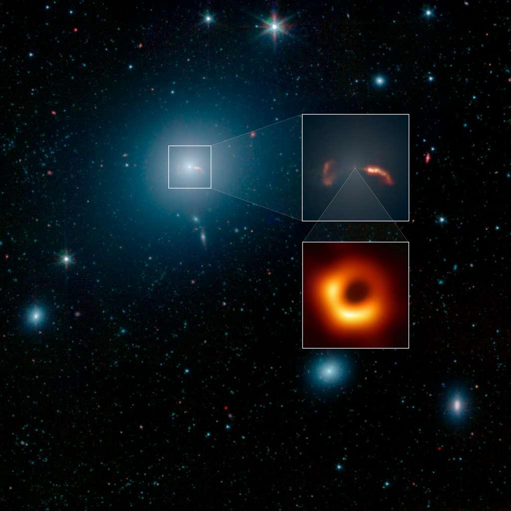 Vue d'ensemble de M87 et de ses voisines. Image capturée dans l'infrarouge par Spitzer. Du centre de la galaxie elliptique, jaillissent deux jets de particules opposés (en rouge et orange) que l'on peut voir agrandis dans l'encadré du haut à droite. L'encadré en dessous nous présente, quant à lui, M87*, le trou noir supermassif à l'origine de ces jets, et le premier de l'histoire à être photographié. © Nasa, JPL-Caltech, IPAC, Event Horizon