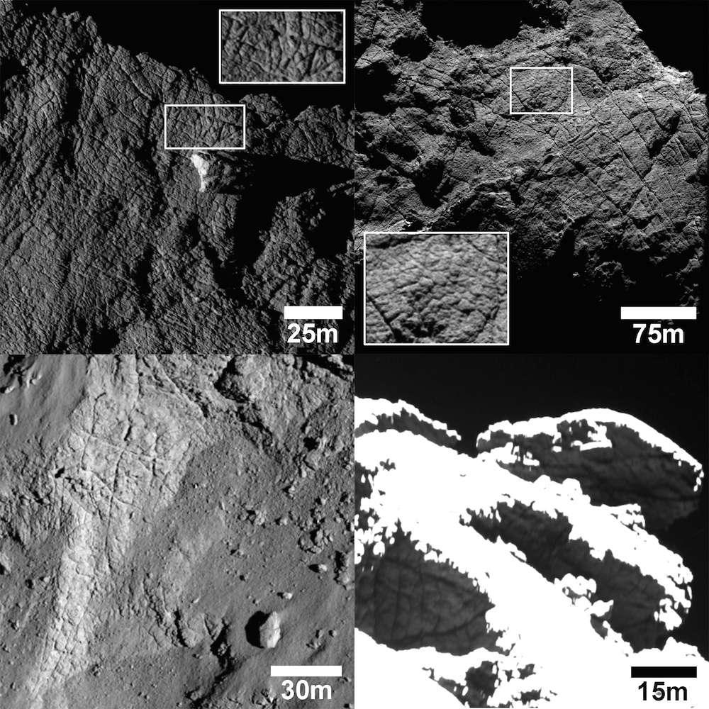 Quatre exemples de fractures avec motifs polygonaux, observées à différentes échelles sur le noyau de la comète 67P/Churyumov-Gerasimenko. Le premier encadré, en haut à gauche, montre un terrain situé dans la région Apis (proche d'Imhotep, sur le grand lobe). La largeur des polygones varie de 2 à 5 m. En haut, à droite, on distingue, dans la région d'Atum (sur un flanc du grand lobe), des fissures en expansion dont les plus longues s'étendent sur 250 m. À plus petite échelle, des lignes s'entrecroisent. L'image en bas, à gauche, montre de grandes fractures polygonales larges de 15 m avec des intersections octogonales, aux limites de la région Nut (petit lobe). En bas, à droite, des fractures ont été observées sur les reliefs situés à la croisée des régions Anubis et Atum, Ash et Seth. Retrouvez la position de ces régions sur la carte interactive de l'Esa : Comet-Viewer. © Esa, Rosetta, MPS for OSIRIS Team MPS, UPD, LAM, IAA, SSO, INTA, UPM, DASP, IDA