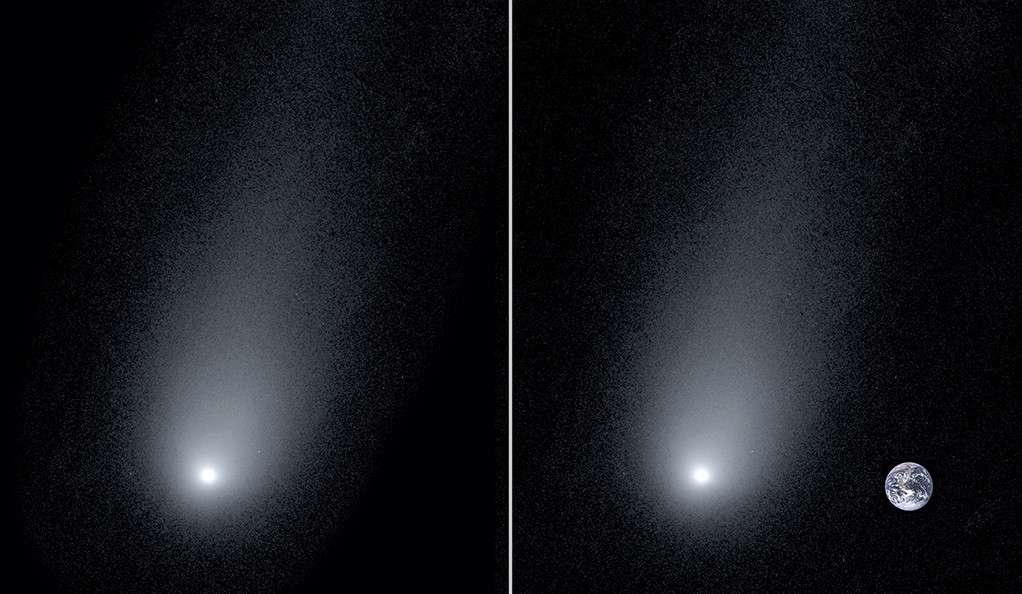 La comète interstellaire 2I/Borisov photographiée le 24 novembre 2019 à l'observatoire Keck à Hawaï. À droite, la Terre a été ajoutée à l'échelle pour montrer la taille imposante de la queue de la comète. © Pieter van Dokkum, Cheng-Han Hsieh, Shany Danieli, Gregory Laughlin, Yale University