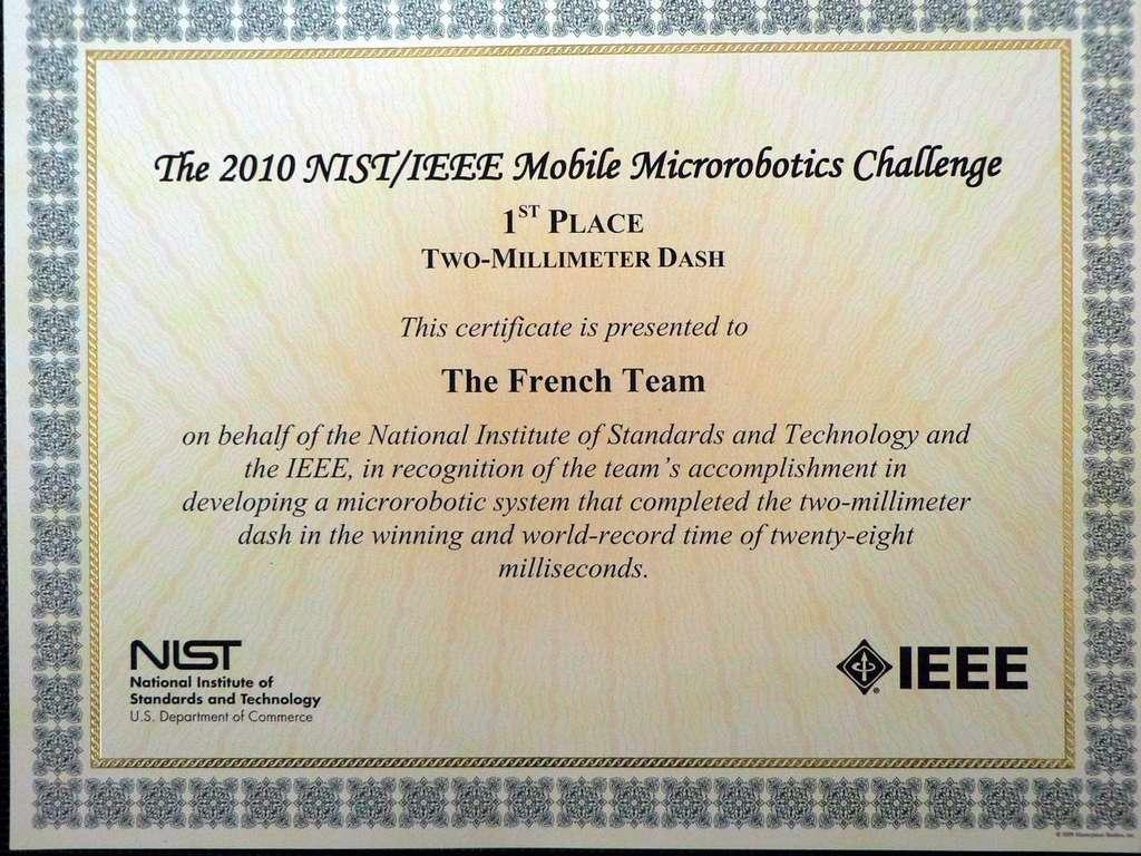 Une récompense très officielle pour l'équipe française (The French Team) pour sa victoire lors de la compétition Two-Milllimeter Dash. Dans un peu plus d'un mois, le champion remettra son titre en jeu. © Isir/Femto-ST