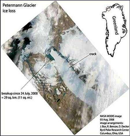 Photo satellite montrant la partie détachée du 24 juillet et la nouvelle faille (crack). Crédit Nasa