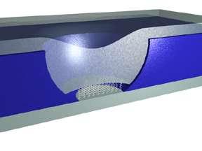 Dans une couche de silicium (en bleu), les scientifique ont creusé un pore obturé des deux côtés par des électrodes en cobalt et en nickel (en gris). Dans le minuscule espace d'environ 40 nanomètres ménagé entre les deux, des composés organiques s'organisent d'eux-mêmes en une couche mono-moléculaire (petits ressorts blancs sur l'image). Par effet tunnel, le courant les traverse et on peut ainsi contrôler l'aimantation des électrons, ou spin. Crédit : W. Wang, C.A. Richter / NIST