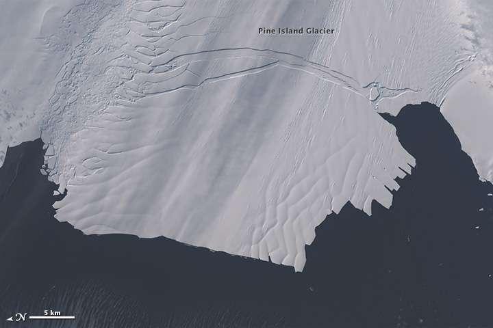 Le 28 octobre, l'extrémité du glacier de Pine Island se fracture : l'iceberg B-31 est en train de naître, repéré par le satellite Landsat 8. © Nasa, Earth Observatory