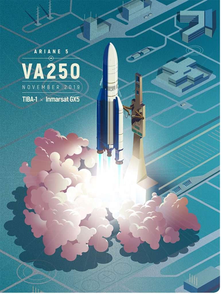 Affiche annonçant le 250e lancement d'Ariane. © Arianespace