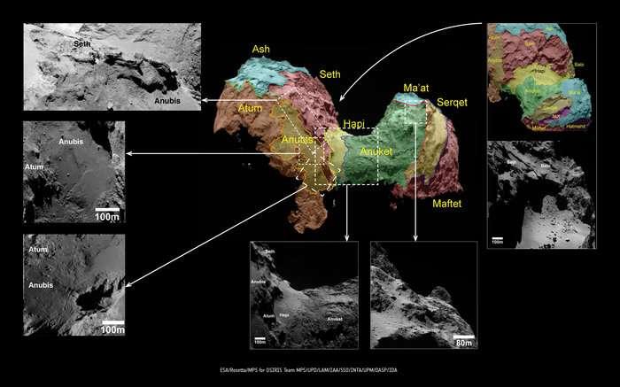 Chaque couleur marque un territoire présentant des caractéristiques géomorphologiques différentes sur le noyau de la comète 67P/Churyumov-Gerasimenko. Le carré en pointillé au centre a été agrandi pour mieux étudier les différentes régions identifiées sur et autour du « cou » (nommé Hapi), qui relie les deux lobes de Tchouri. © Esa, Rosetta, MPS for OSIRIS Team MPS, UPD, LAM, IAA, SSO, INTA, UPM, DASP, IDA
