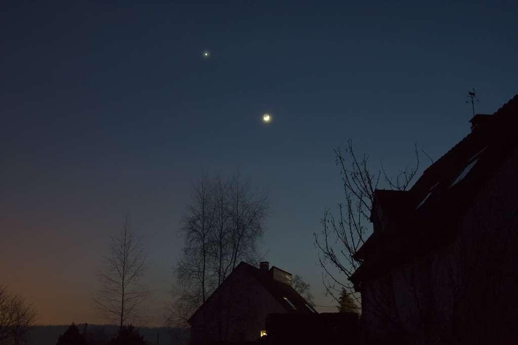 Lune et Vénus le 29 jan 2009 depuis Le Mans