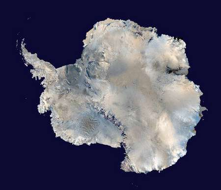 Vue satellite de l'Antarctique. © DR