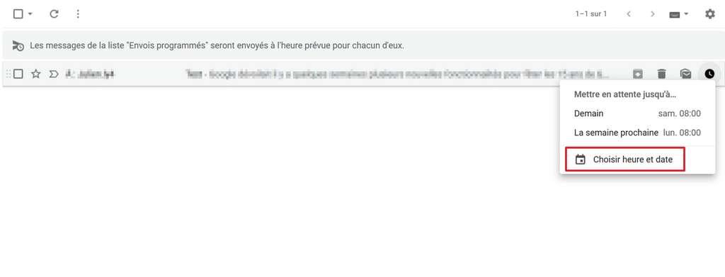 L'icône en forme d'horloge vous donne accès aux options de modifications de la programmation de l'email. © Google Inc.