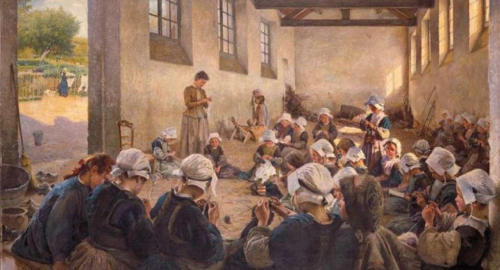 Ecole de filles, classe manuelle, Finistère, Bretagne, par Richard Hall en 1889. Musée des Beaux-Arts de Rennes. © RMN - Grand Palais / Adélaïde Beaudoin.