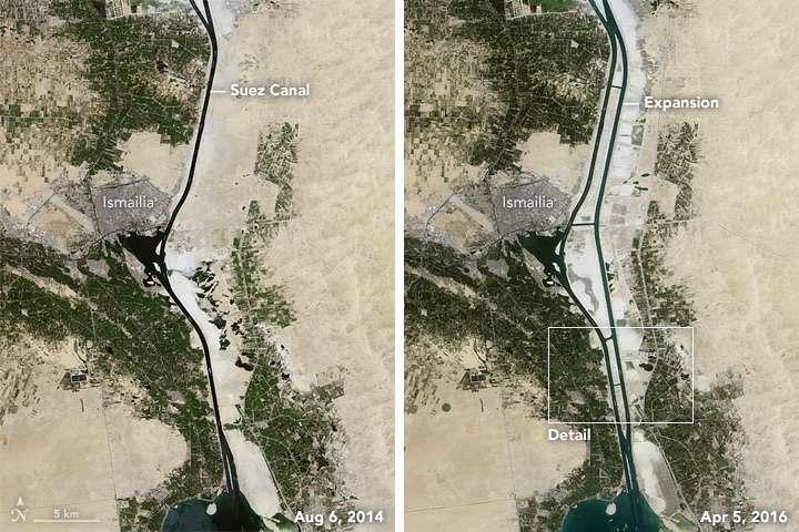 Selon les autorités du canal de Suez, l'achèvement du nouveau canal signifie que les temps d'attente passeraient de trois heures au lieu de huit à onze heures, et les temps de transit seraient de onze heures au lieu de dix-huit heures. © Nasa