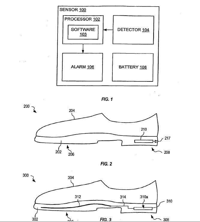 Dans son brevet, Apple décrit un capteur d'usure doté de plusieurs options. On y trouve pêle-mêle un capteur de pression, un accéléromètre, ou encore un podomètre. Ce capteur pourrait être exploité dans deux modèles de chaussures : uniquement dans le talon ou, comme le montre la dernière illustration (Fig. 3), avec en plus un capteur de pression placé sur toute la longueur de la semelle. © Apple