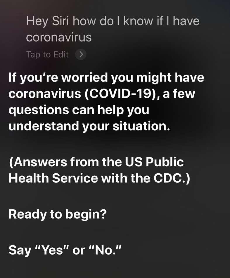 Après quelques questions-réponses, Siri propose un premier diagnostic, et en cas de symptômes graves, il invite à composer le numéro des urgences. © Apple