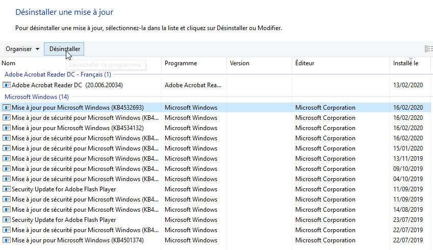 Dans les paramètres de Windows 10, il est possible de désinstaller une mise à jour qui pose problème. © Futura