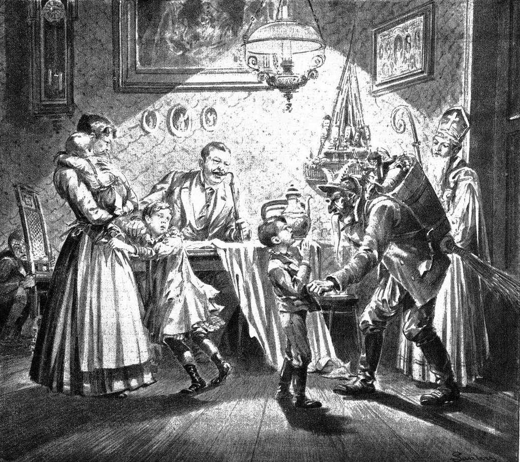 La légende veut que Saint-Nicolas soit accompagné du Père Fouettard qui punit de coups les enfants qui ne méritent pas de cadeaux. © Auteur inconnu. Dessin publié dans une revue autrichienne de 1896. Wikipedia. Domaine public
