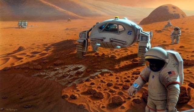 Malgré un budget serré, la Nasa conserve les projets de long terme chers à Barack Obama, comme l'envoi d'une mission habité vers Mars d'ici 2030. © John Frassanito & associés, 2003