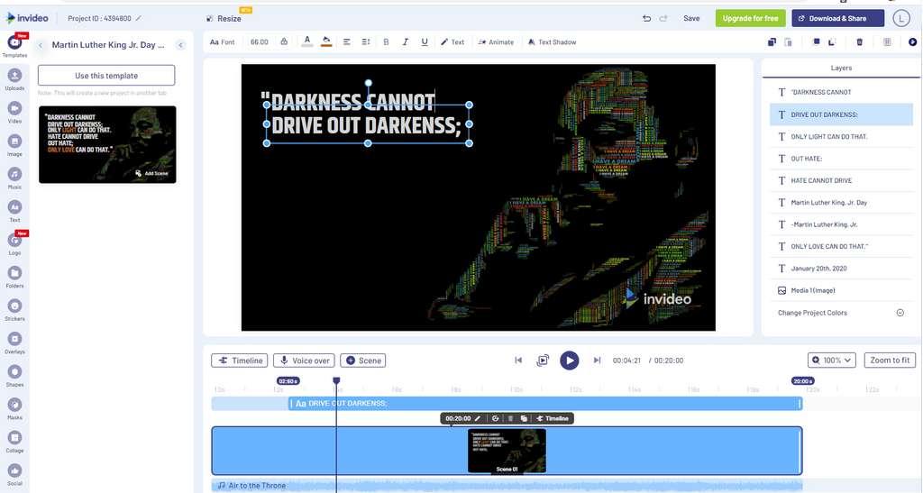 Après avoir choisi un modèle, il est simple d'adapter vos contenus et de créer votre propre vidéo en quelques minutes. © Futura
