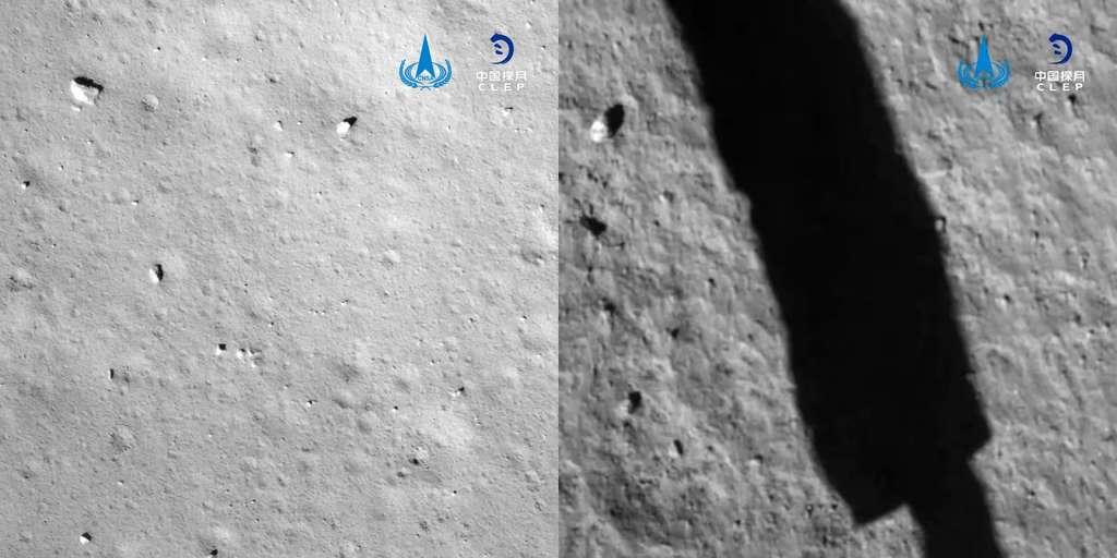 Le site d'atterrissage de Chang'e 5 vu lors de la descente de la sonde. © CNSA