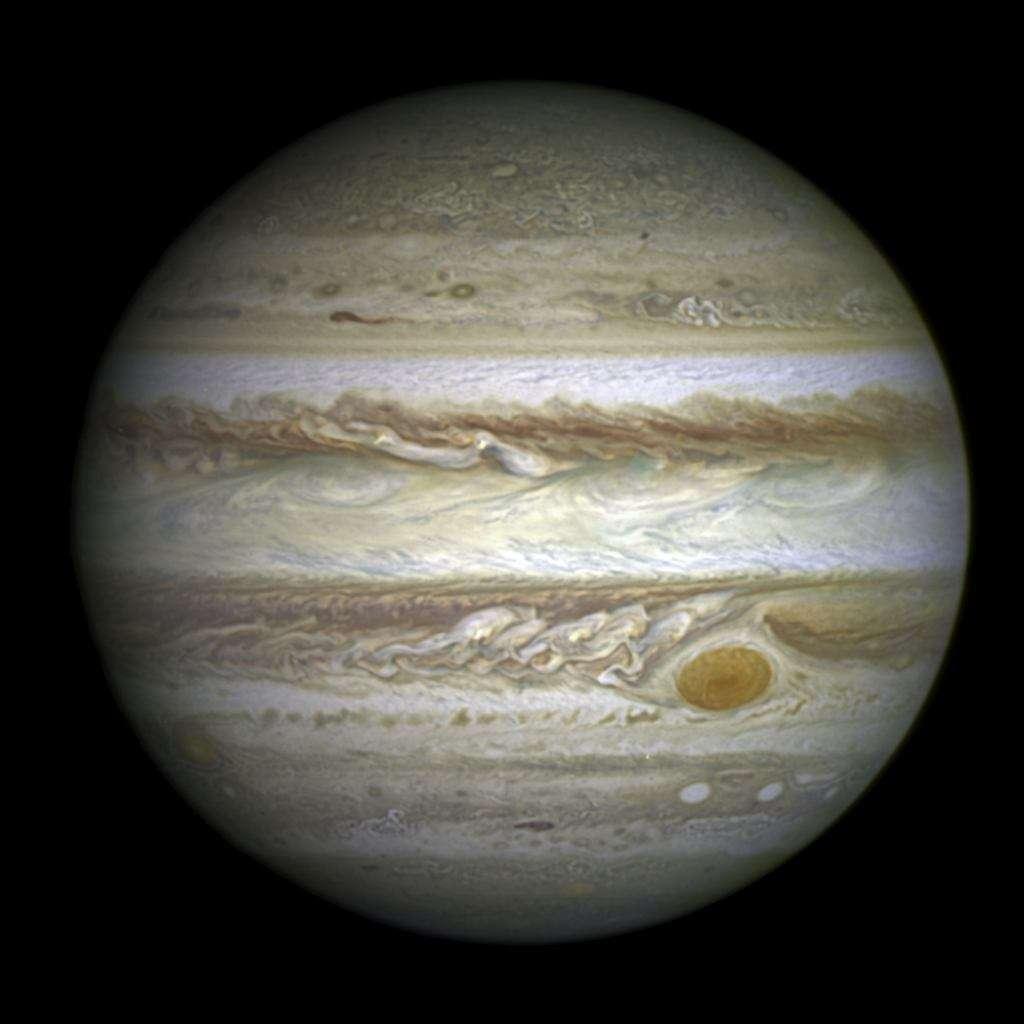Jupiter photographiée par Hubble le 21 avril 2014. Que serait devenu notre Système solaire si cette planète n'avait pas été là ou bien avait migré près du Soleil comme cela est observé dans d'autres systèmes? © Nasa, Esa, A. Simon (Goddard Space Flight Center)