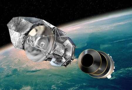 Cliquer pour agrandir. Trente minutes après son lancement, l'instrument Herschel se séparera du dernier étage de son lanceur et entamera la route qui le conduira vers le point de Lagrange L2 à 1,5 million de kilomètres de la Terre. Crédit : Esa/D. Ducros, 2009