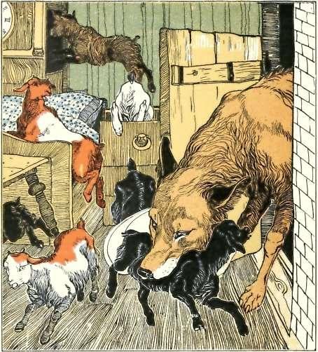 Illustration de Karl Fahringer inspirée du conte Le loup et les sept chevreaux, qui aurait inspiré Le petit chaperon rouge. © Karl Fahringer, Wikimedia Common, DP