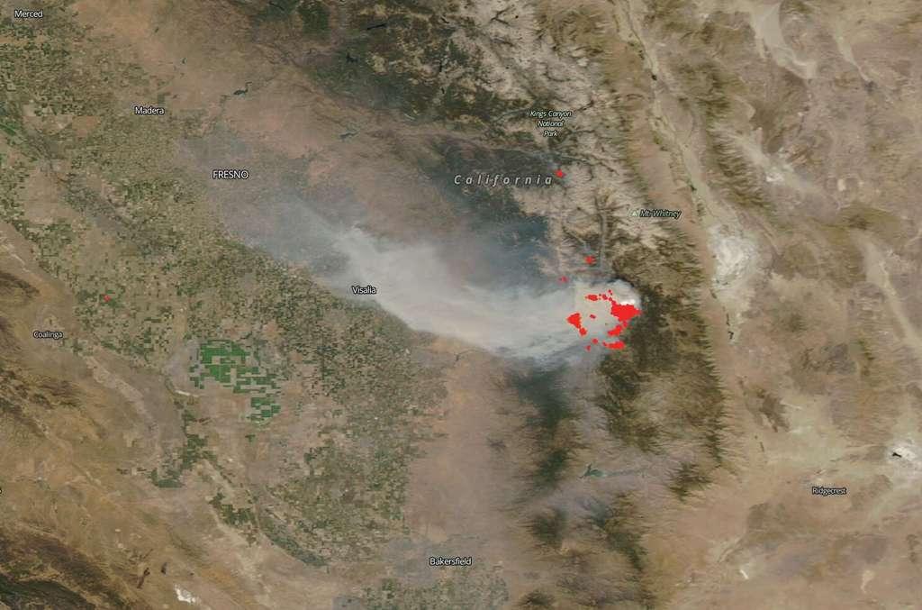 Des images prises le 4 septembre 2020 par le satellite Aqua d'incendies signalés le 24 août. © Nasa