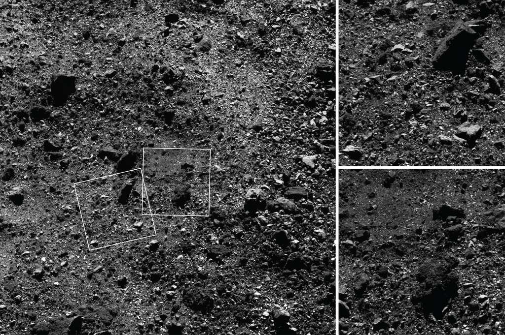 Des images de la surface rocailleuse de Bennu, observée par Osiris-Rex le 25 février 2019 à une distance de 1,8 kilomètre de l'astéroïde. L'image de gauche a été prise par la caméra MapCam. Les deux vues rapprochées à droite ont été capturées par la caméra PolyCam. Celle du haut montre un rocher d'une dimension de 15 mètres. Sur celle du bas, on aperçoit une zone relativement lisse couverte de régolithe. © Nasa/Goddard/University of Arizona
