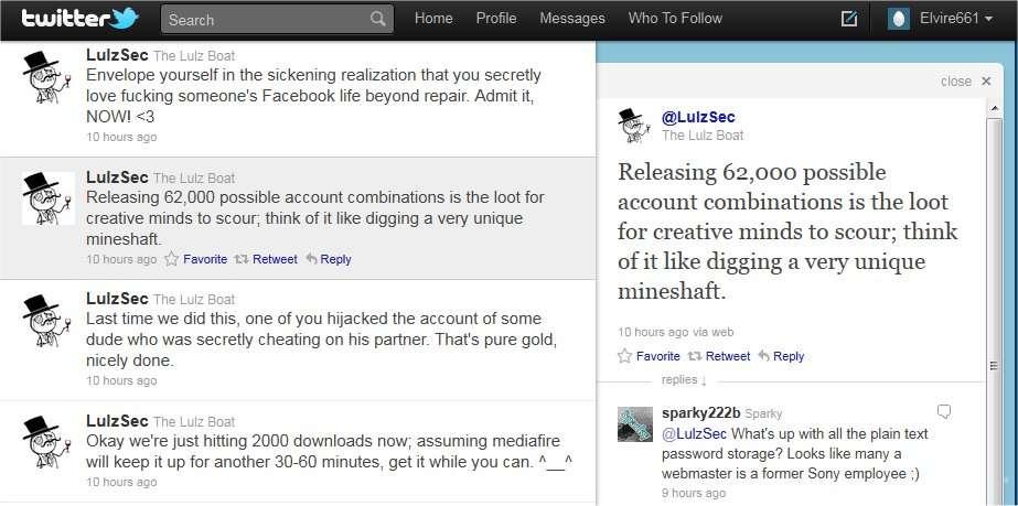 « Une mine de données exceptionnelle » explique benoîtement LulzSec sur Twitter pour présenter sa récolte de 62.000 comptes personnels, avec identifiants et mots de passe, récupérés sur des sites non précisés.