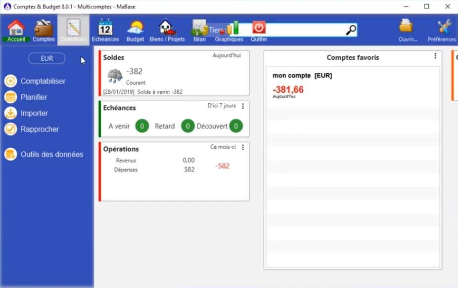 Comptes & Budget est un des logiciels les plus complets pour gérer ses comptes. © Alaux Michel