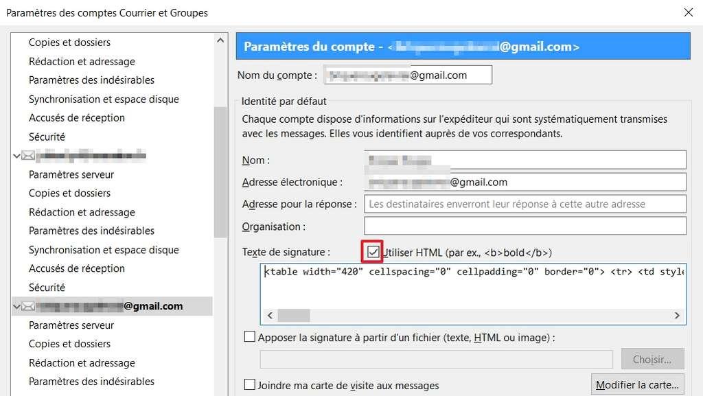 Les codeurs n'auront aucun souci à personnaliser leur signature sur Thunderbird. © Mozilla Foundation