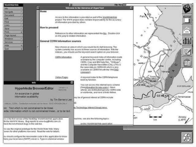 La toute première page Web mise en ligne donnait aux chercheurs des informations sur l'avancée du « projet WorldWideWeb ». Il prévoyait l'utilisation massive des liens hypertextes, reliant chaque page à une ou plusieurs autres, tissant ainsi une toile qui pourrait, sait-on jamais, prendre une dimension mondiale. © Cern