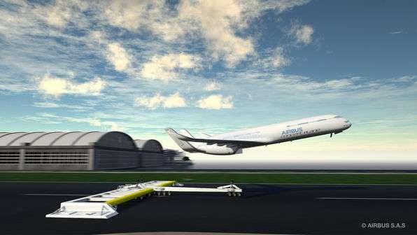 Une étude d'Airbus d'un concept dit eco-climb : un chariot propulseur accélère l'avion au sol pour l'aider à décoller. La quantité de carburant embarquée est donc plus faible, ainsi que la pollution et le bruit. © Airbus Group