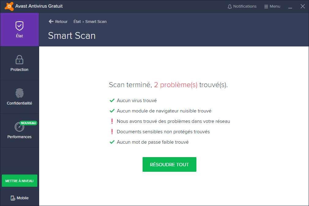 Les problèmes détectés peuvent être résolus en un clic avec Avast. © Avast Software