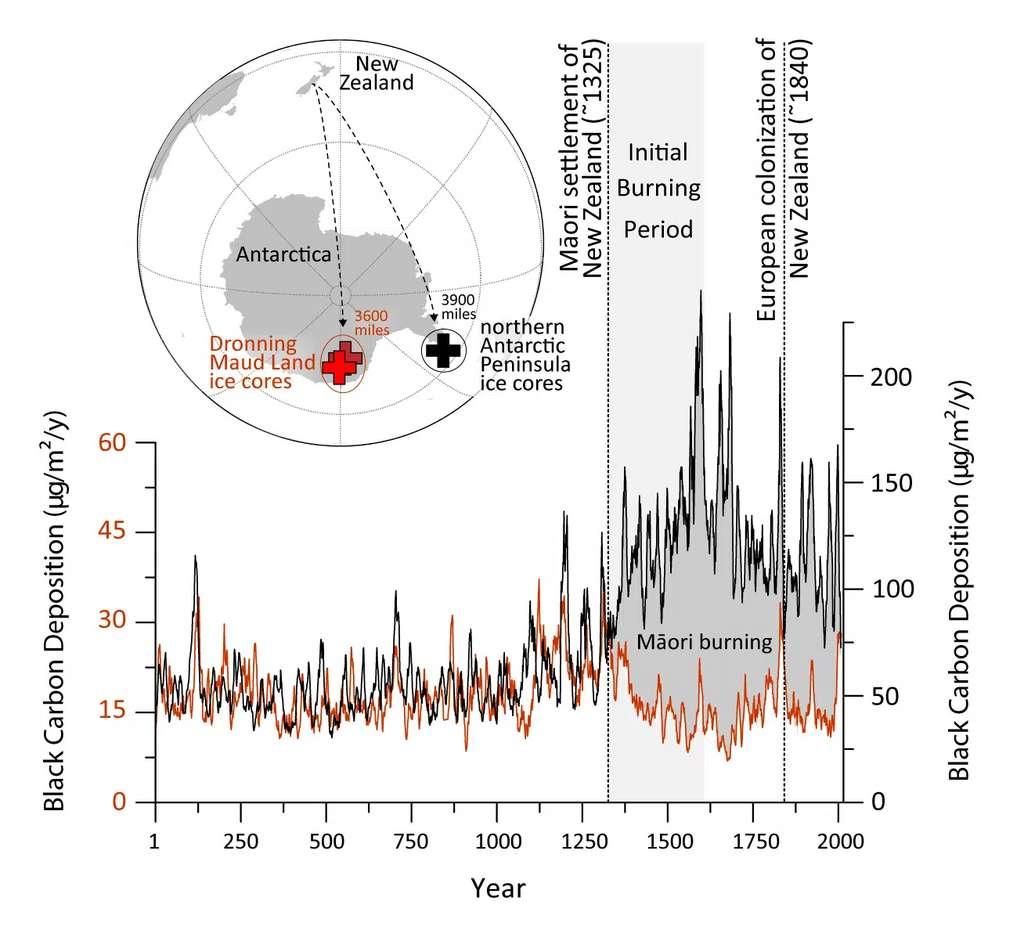 © Ici en rouge, les dépôts de noir de carbone mesurés dans les carottes de glace de Dronning Maud Land dans l'Antarctique continental et en noir, ceux de l'île James Ross à la pointe nord de la péninsule. La modélisation atmosphérique et les enregistrements de brûlage locaux indiquent que l'augmentation observée à partir de 1 300 est liée à l'établissement des Maoris en Nouvelle-Zélande à près de 6 500 kilomètres de là et à leur utilisation du feu pour le défrichement et la gestion des terres. © Desert Research Institute