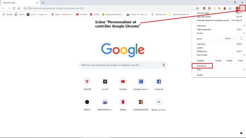 Il faut cliquer sur l'icône en haut à droite pour pouvoir accéder aux paramètres. © Google