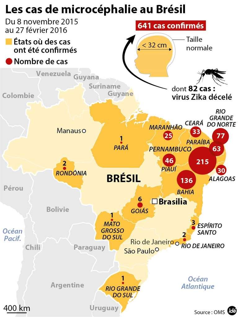 Le Brésil a enregistré de nombreuses naissances de bébés touchés par la microcéphalie. (Cliquez sur la carte pour l'agrandir.) © idé