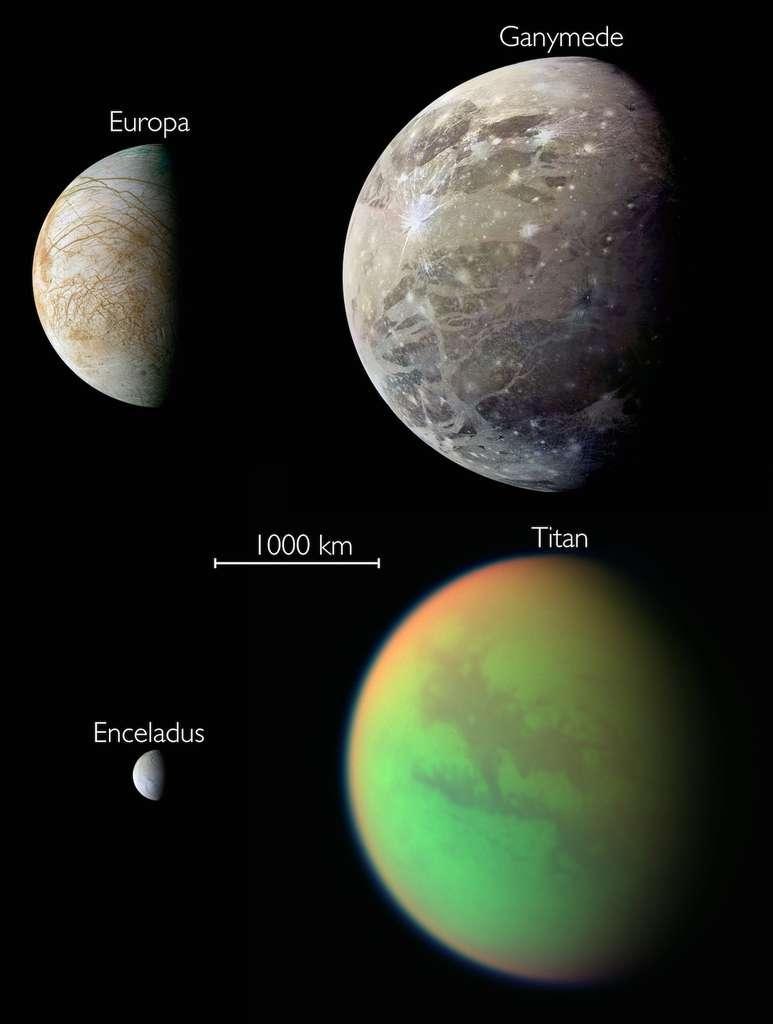 Outre la Terre ou encore Mars dans le passé, Europe, Ganymède, Titan et Encelade sont des mondes potentiellement habitables dans notre Système solaire. Quatre satellites naturels où l'eau (à l'état liquide, gazeux ou solide) abonde. © René Heller, Nasa, JPL, Space Science Institute, Ted Stryk
