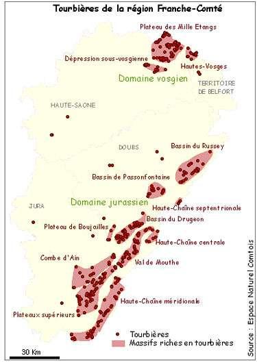 Carte des tourbières de Franche-Comté. © DR