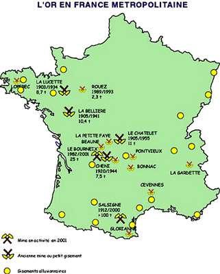 De nombreuses mines d'or ont été exploitées en France.