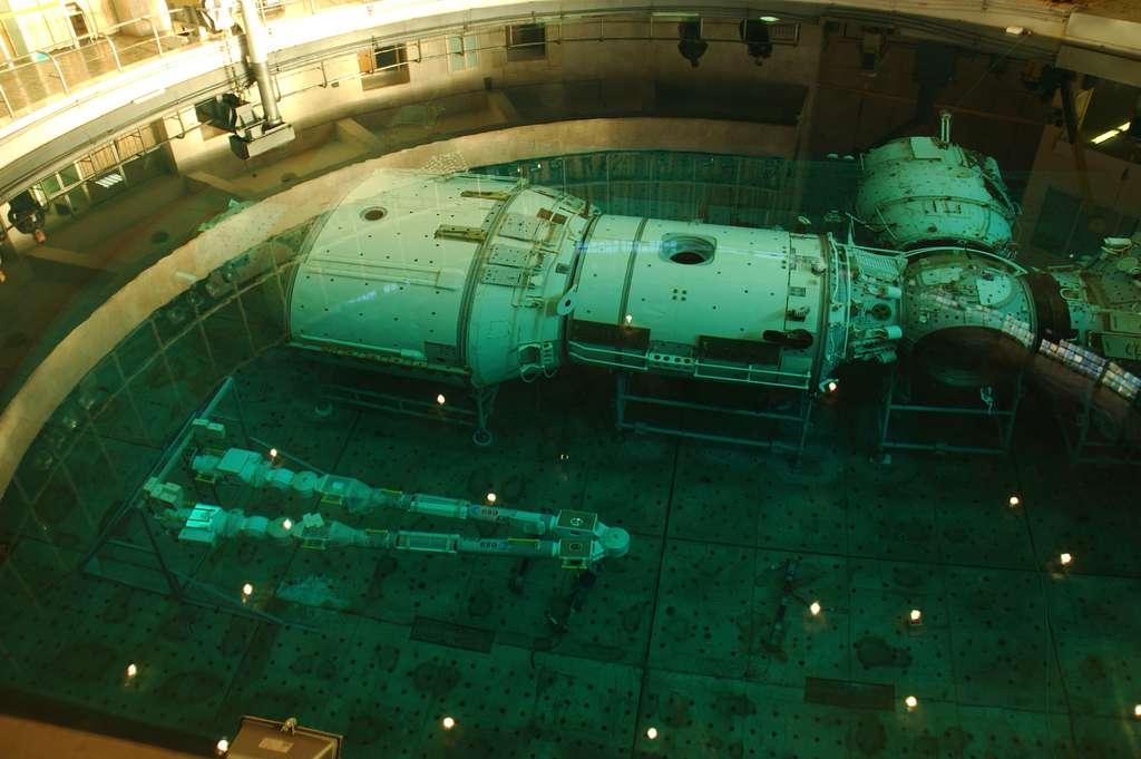Test subaquatique du modèle d'essai en impesanteur du bras Era, exécuté avec la participation de l'astronaute néerlandais de l'Esa, André Kuipers, au centre Gagarine d'entraînement des cosmonautes, près de Moscou. © Esa