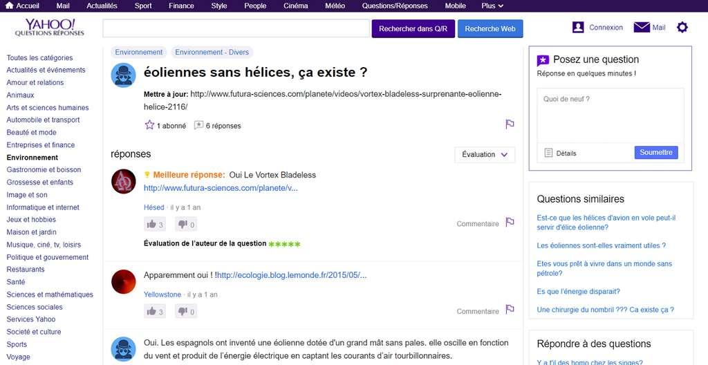Consultez les questions/réponses émanant des utilisateurs de Yahoo! Search. © Yahoo!