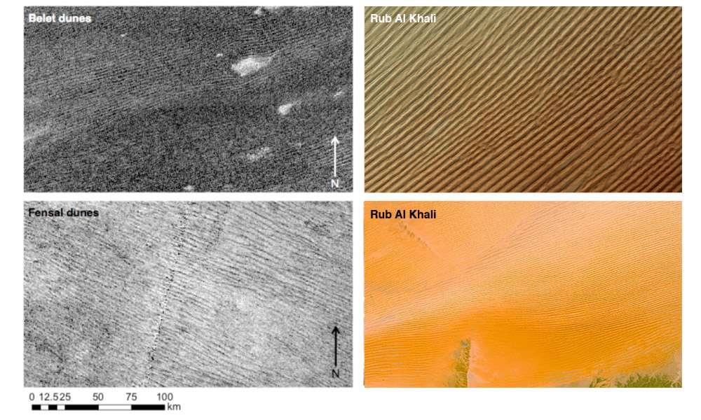Différents champs de dunes découverts sur Titan. © Nasa, JPL-Caltech, ASI, ESA, USGS