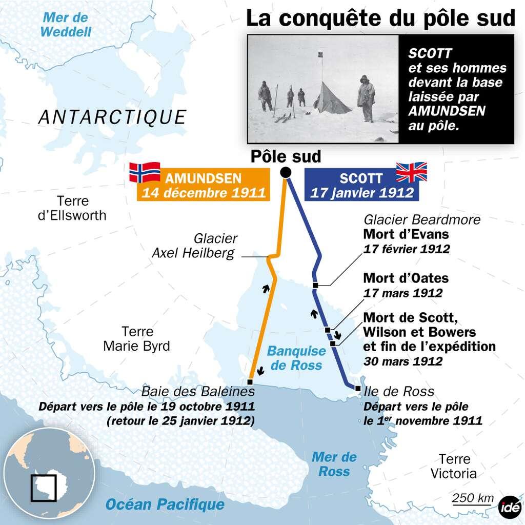 Durant les premières années du XXe siècle, la course aux pôles est acharnée. En 1910, deux expéditions se préparent : la norvégienne, menée par Roald Amundsen, et la britannique, dirigée par Robert Scott. L'aventure est difficile. Il faut déjà parvenir sur le continent antarctique, encerclé par les « 40e rugissants » et les « 50e hurlants » et protégé par la banquise. Reste ensuite à s'enfoncer sur des centaines de kilomètres dans le continent, en tirant des traîneaux et en évoluant sur un sol crevassé et montagneux. Le pôle Sud se trouve sur un plateau à plus de 2.800 mètres d'altitude. © Idé