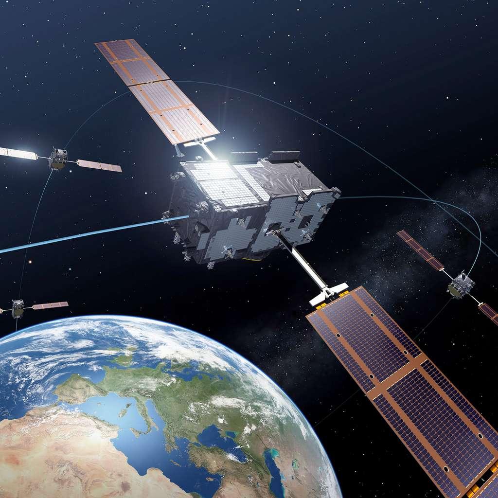Avec quatre satellites opérationnels en orbite, la constellation Galileo n'est pas encore en activité. Les premiers services ne sont pas attendus avant début 2015. © Esa/P. Carril