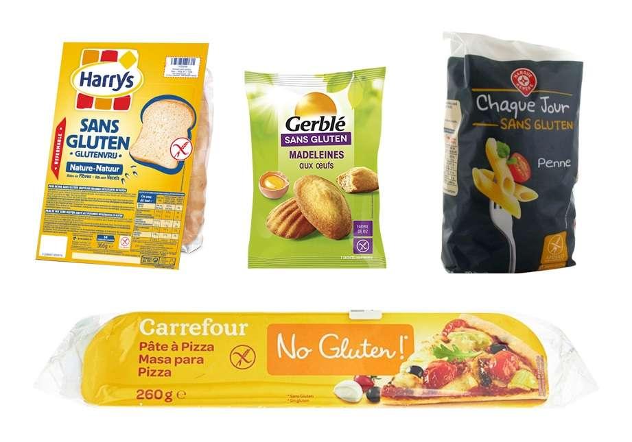 Les produits sans gluten contiennent plus de sucre, de sel et d'additifs que les produits classiques. © Harry's, Gerblé, Leclerc, Carrefour