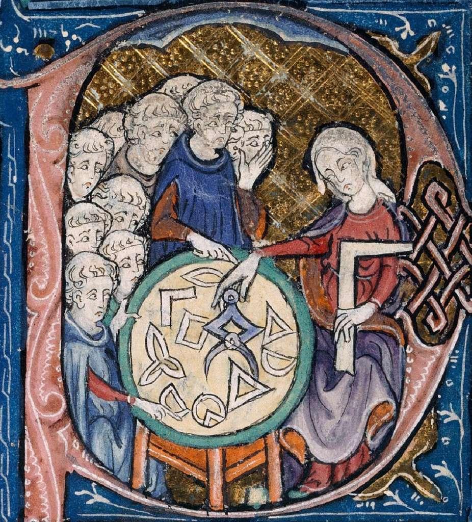 Enluminure (détail), dans les Eléments d'Euclide, traduction d'Adélar de Bath vers 1310. Personnification féminine de la géométrie (ou enseignante, ce qui paraît peu probable). British Library, Londres. © Wikimedia Commons, domaine public
