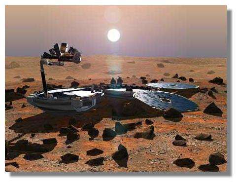 Beagle-II sur Mars. Les pétales portant les panneaux solaires sont déployés. Le bras robotique équipé de nombreux instruments apparaît sur le dessus. © Open University / ESA