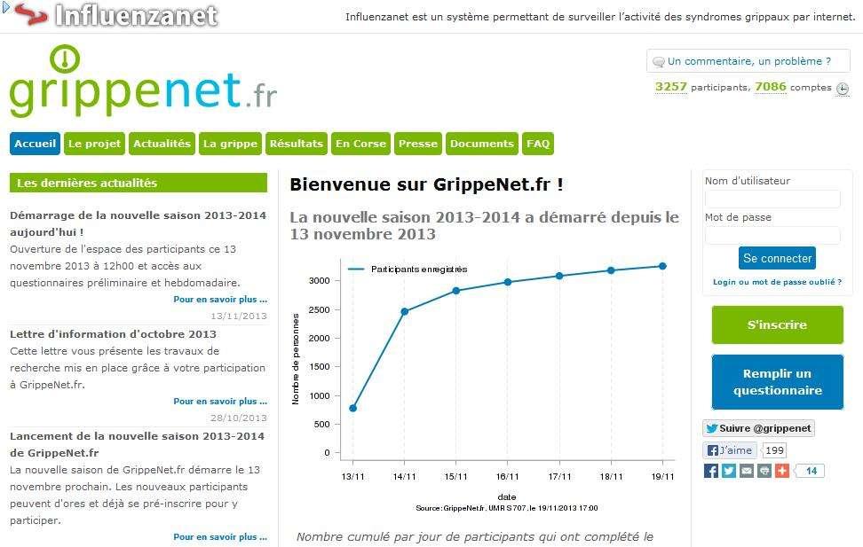 GrippeNet.fr rentre dans sa nouvelle version et dispose de nouvelles fonctionnalités afin de toucher un public plus large et d'améliorer la finesse de ses résultats. © Capture d'écran du site GrippeNet.fr